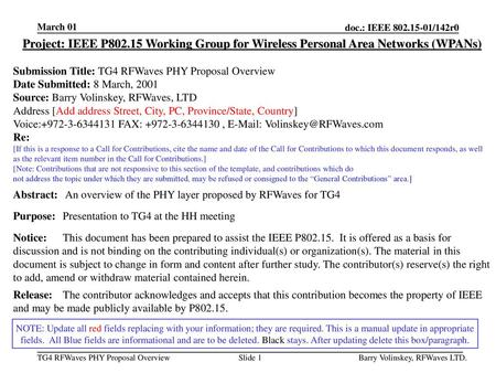 March 01 Project: IEEE P802.15 Working Group for Wireless Personal Area Networks (WPANs) Submission Title: TG4 RFWaves PHY Proposal Overview Date Submitted: