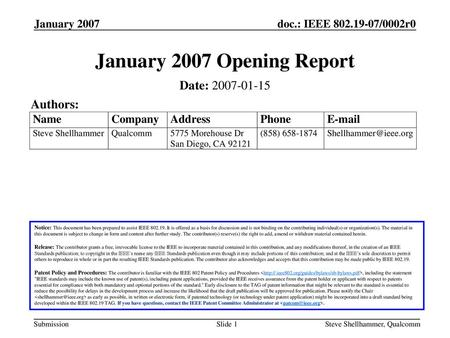 January 2007 Opening Report