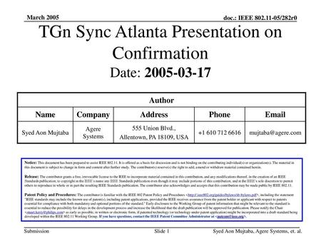 TGn Sync Atlanta Presentation on Confirmation