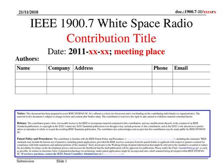IEEE White Space Radio Contribution Title