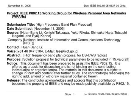 Submission Title: [High Frequency Band Plan Proposal]