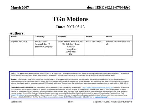 TGu Motions Date: Authors: March 2007 March 2007