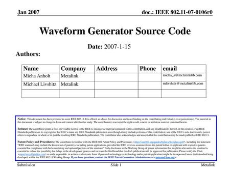 Waveform Generator Source Code