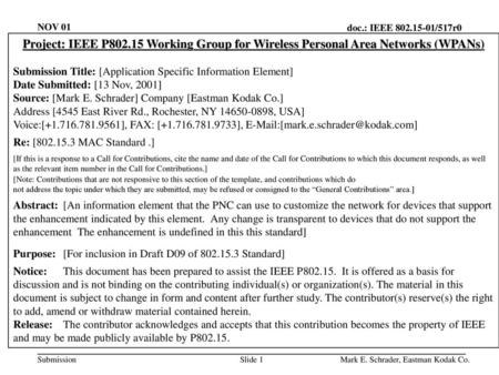 NOV 01 Project: IEEE P802.15 Working Group for Wireless Personal Area Networks (WPANs) Submission Title: [Application Specific Information Element] Date.
