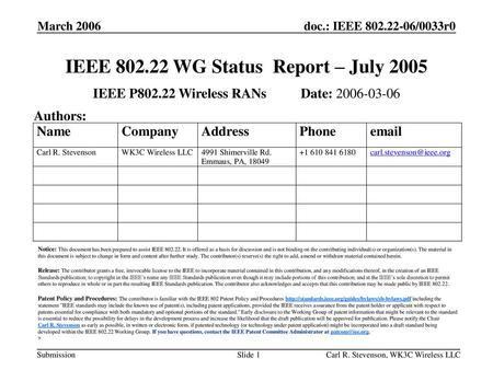 IEEE WG Status Report – July 2005
