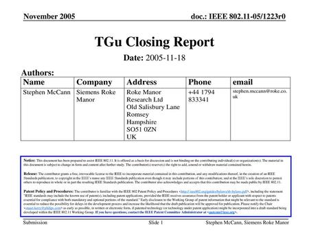TGu Closing Report Date: Authors: November 2005