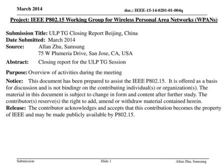 Submission Title: ULP TG Closing Report Beijing, China