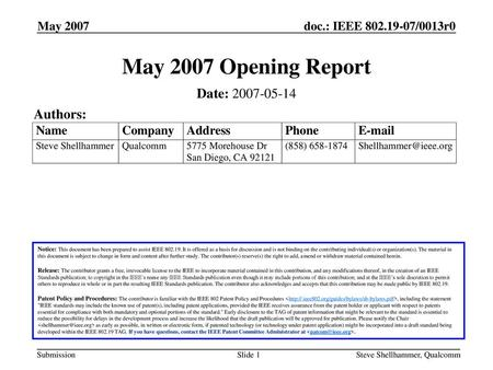 May 2007 Opening Report Date: Authors: May 2007 March 2007