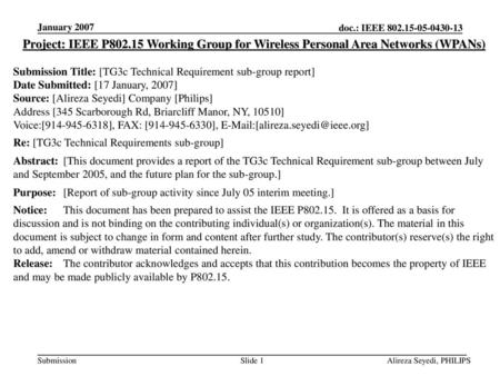 January 2007 Project: IEEE P802.15 Working Group for Wireless Personal Area Networks (WPANs) Submission Title: [TG3c Technical Requirement sub-group report]