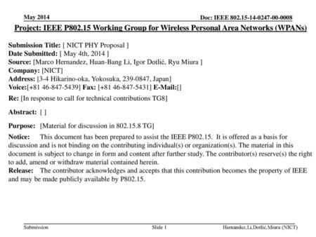 <month year> <doc.: IEEE doc> May 2014