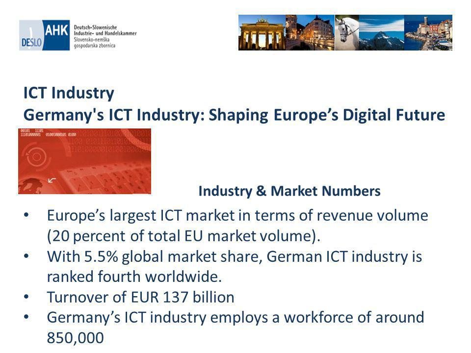 ICT Industry Germany s ICT Industry: Shaping Europes Digital Future Cloud Computing: There is significant international demand for secure and cost-effective cloud solutions and services Growth Areas Smart Grids: Increasing importance of sustainable energy supply offer great opportunities for smart grid adoption and ICT solutions for smart grid.