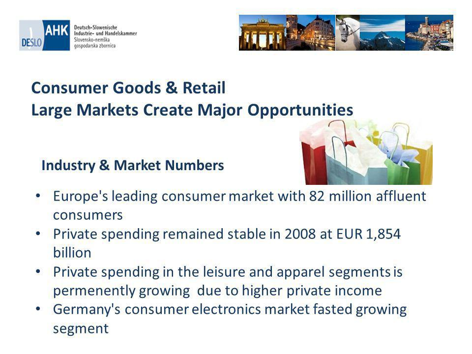 Food & Beverage Industry Supplying the Full Spectrum of Consumer Needs Germany is Europe s second largest food producer with sales of 149.5 billion Euro in 2010 Germany is a net importer of food & beverage products Largest sector sub-segments in 2009: meat (22.7%), dairy (15.4%), confectionery food (9.4%), and baked goods (8.7%) Major national and international players, including Dr.