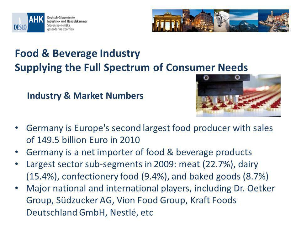 Food & Beverage Industry Supplying the Full Spectrum of Consumer Needs High demand for health and wellness as well as functional food products to prevent or overcome conditions including diabetes, high blood pressure and cholesterol Movement for organic food and free of foods e.g.
