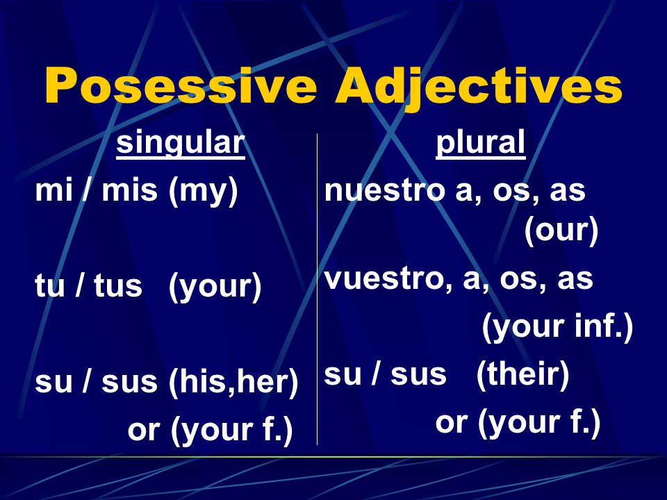 Posessive Adjectives singular mi / mis(my) tu / tus(your) su / sus (his,her) or (your f.) plural nuestro a, os, as (our) vuestro, a, os, as (your inf.) su / sus (their) or (your f.)