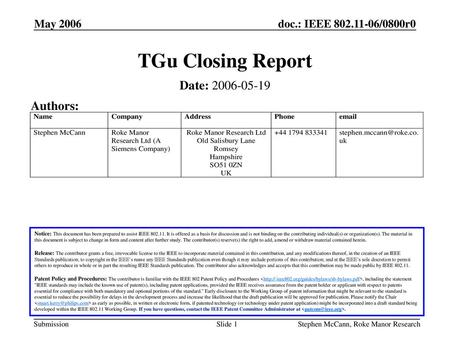 TGu Closing Report Date: Authors: May 2006 May 2006