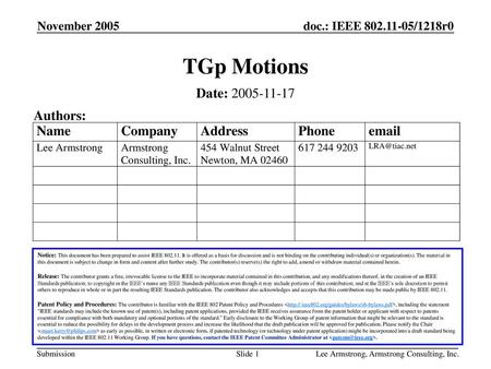 TGp Motions Date: Authors: November 2005 Month Year