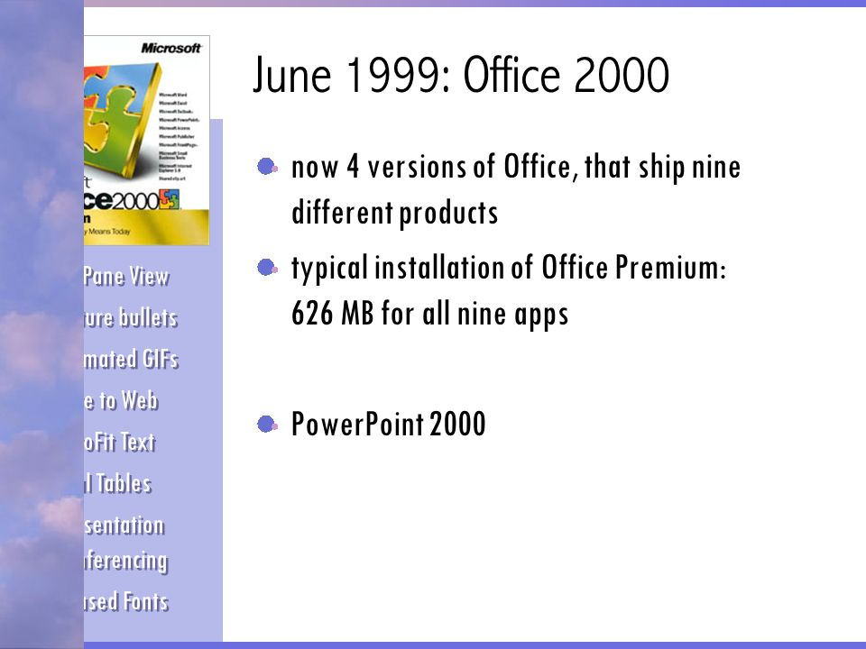 June 1999: Office 2000 now 4 versions of Office, that ship nine different products. typical installation of Office Premium: 626 MB for all nine apps.
