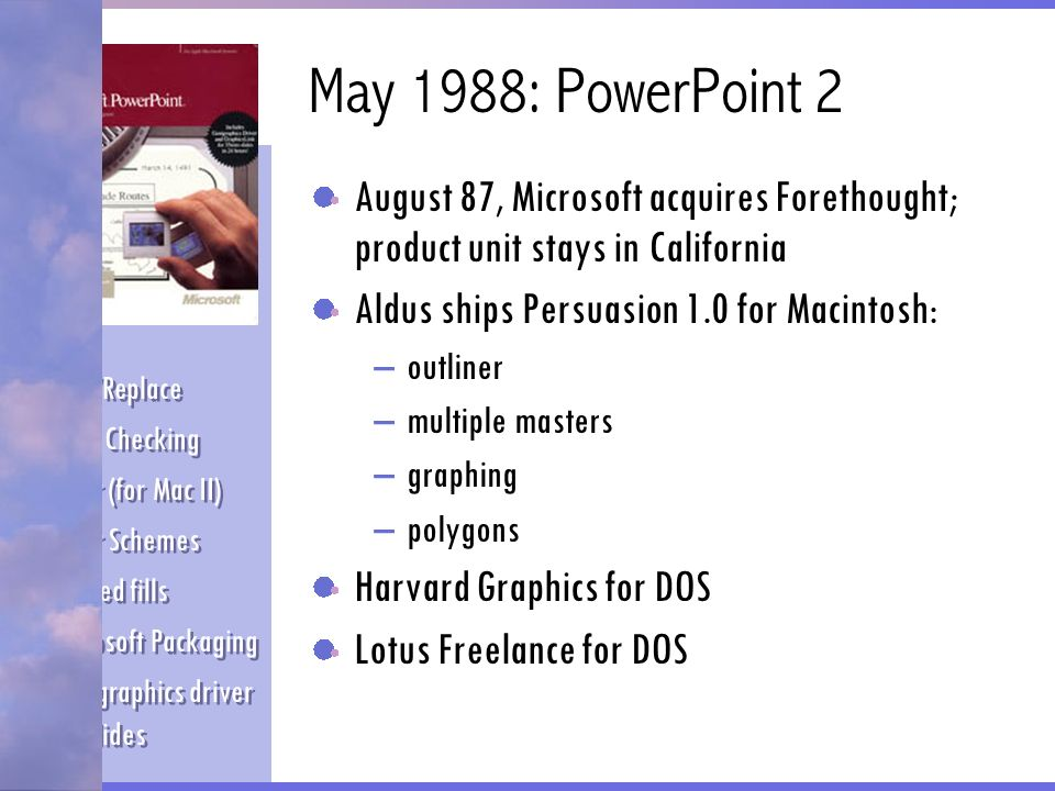 May 1988: PowerPoint 2 August 87, Microsoft acquires Forethought; product unit stays in California.