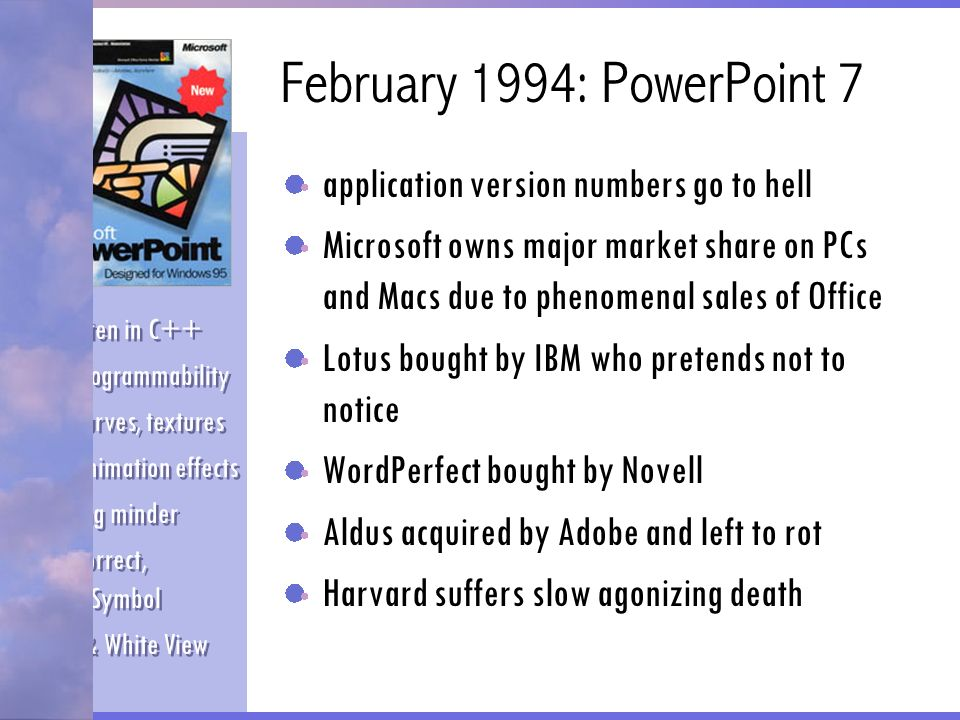 February 1994: PowerPoint 7 application version numbers go to hell