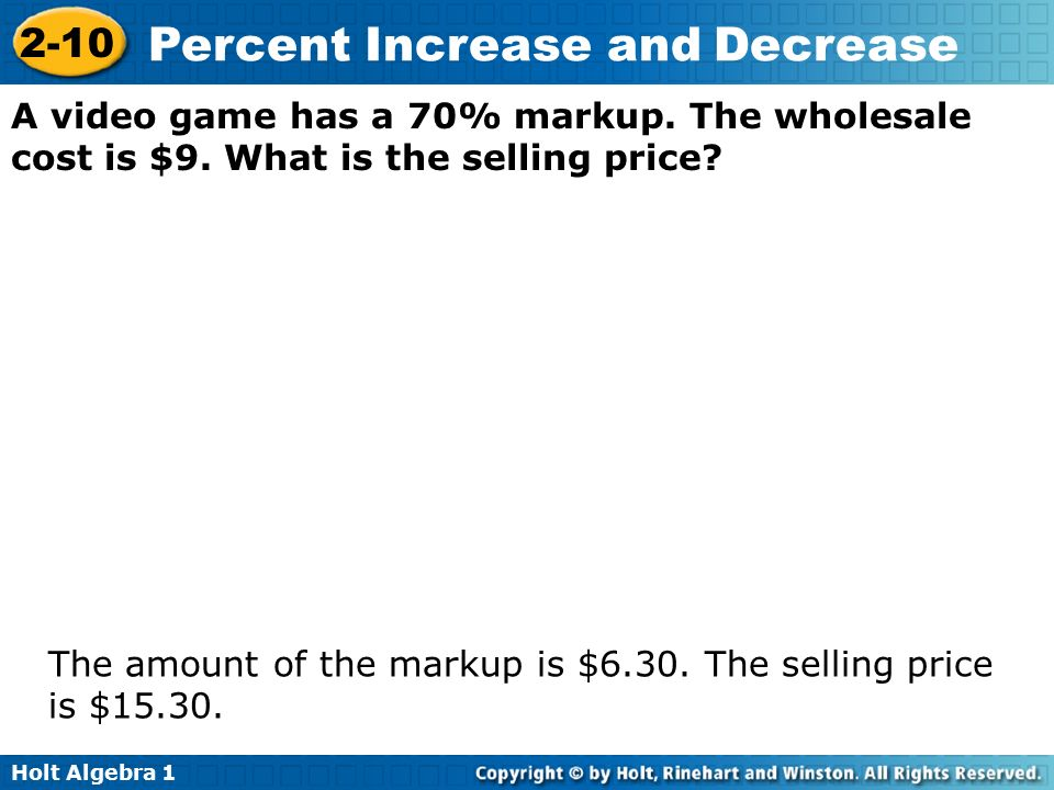 how to find the percent markup on selling price