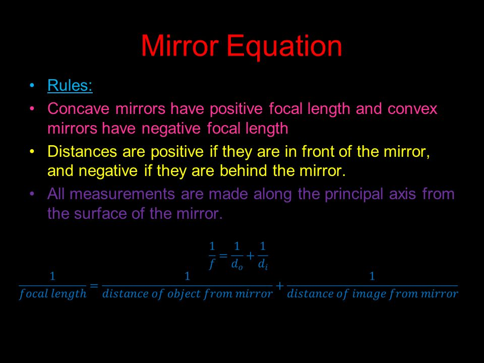 Reflection regular reflection occurs when parallel light for Mirror formula