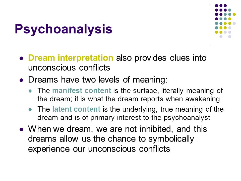 Psychoanalysis Dream interpretation also provides clues into unconscious conflicts. Dreams have two levels of meaning: