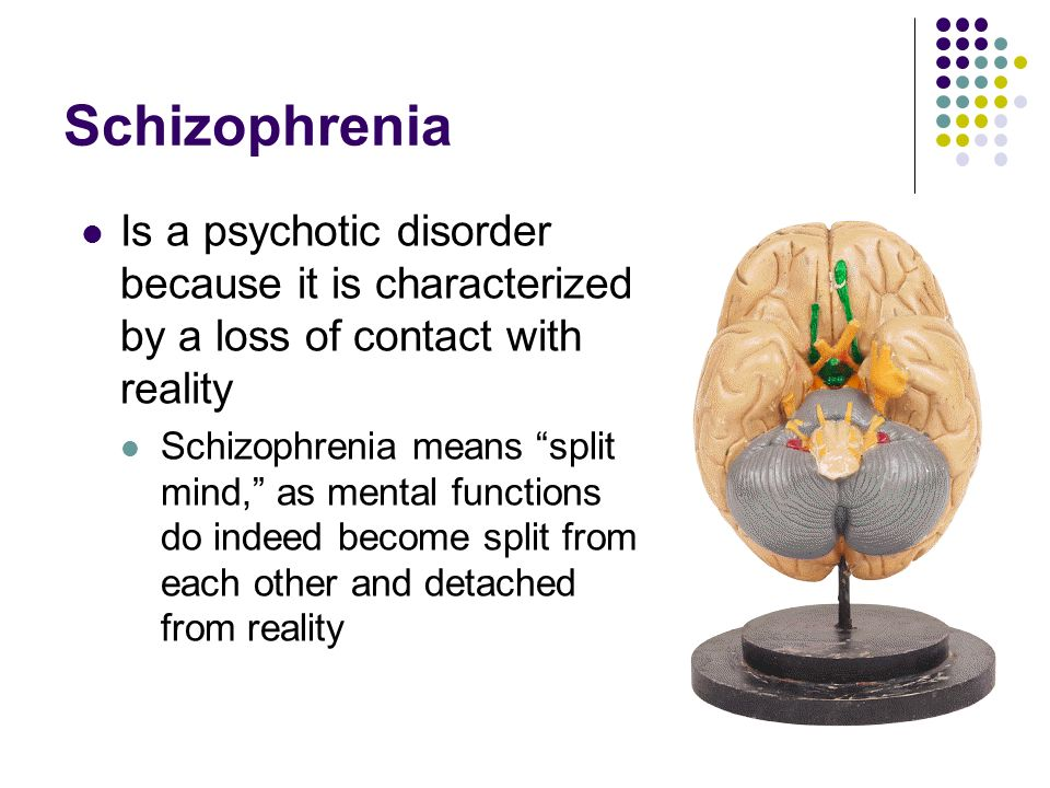 Schizophrenia Is a psychotic disorder because it is characterized by a loss of contact with reality.