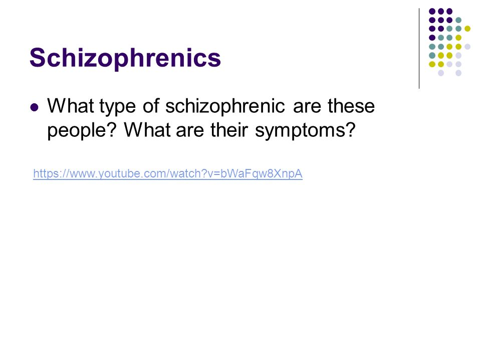 Schizophrenics What type of schizophrenic are these people.
