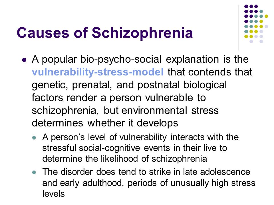 sociocultural explanations of schizophrenia Social causation: people in the lowest social classes and groups such as immigrants have a higher incidence of schizophrenia in the uk this suggests social class may be involved in some way in the development of schizophrenia.