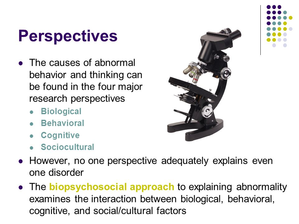 Perspectives The causes of abnormal behavior and thinking can be found in the four major research perspectives.