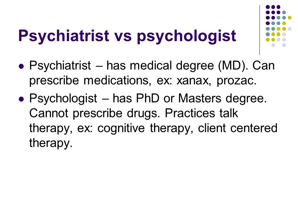 Psychiatrist vs psychologist