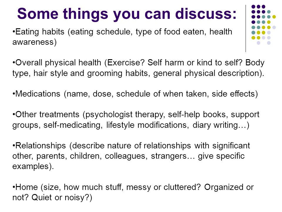 Some things you can discuss: