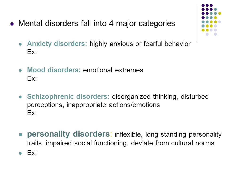 Mental disorders fall into 4 major categories