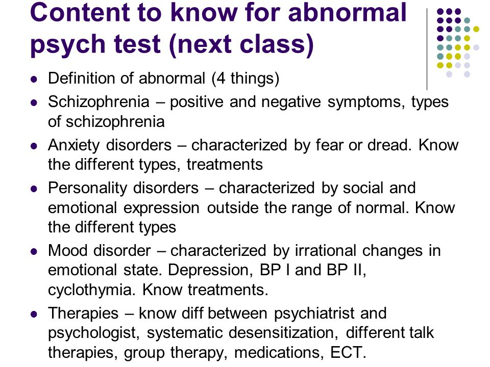 Content to know for abnormal psych test (next class)