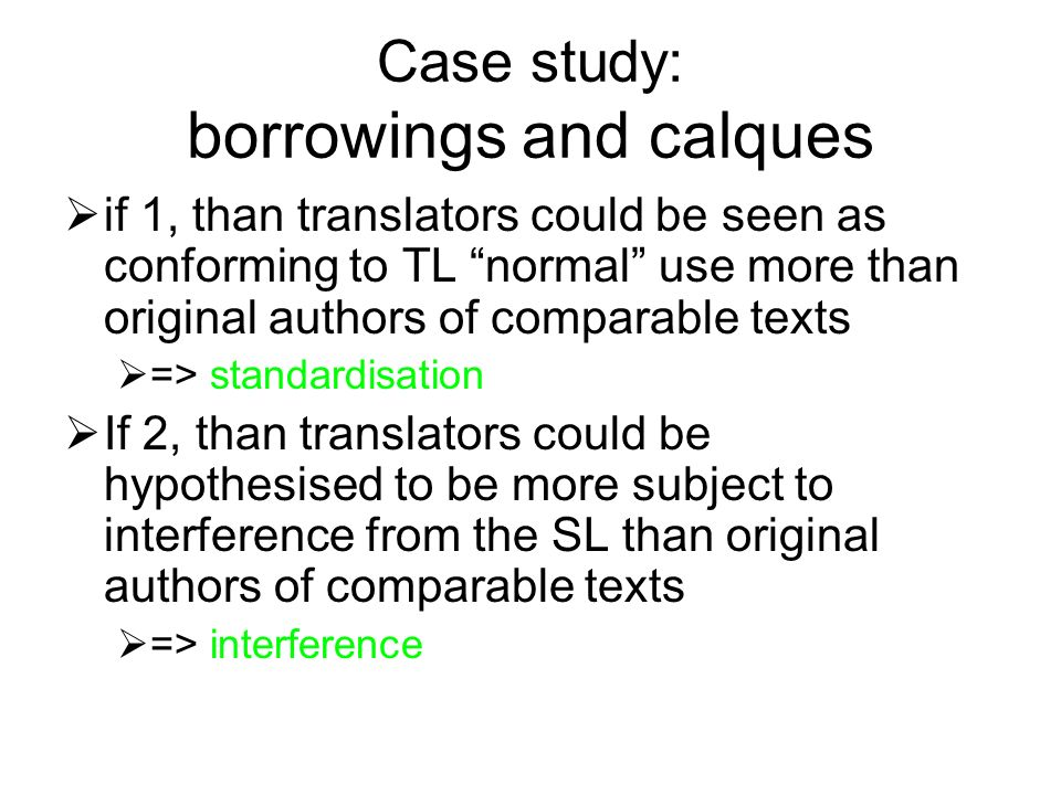 Case study: borrowings and calques