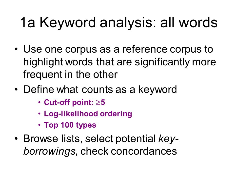 1a Keyword analysis: all words