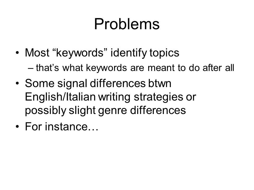 Problems Most keywords identify topics