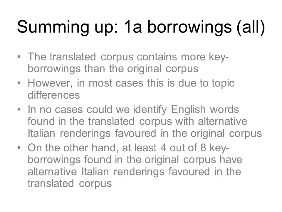 Summing up: 1a borrowings (all)
