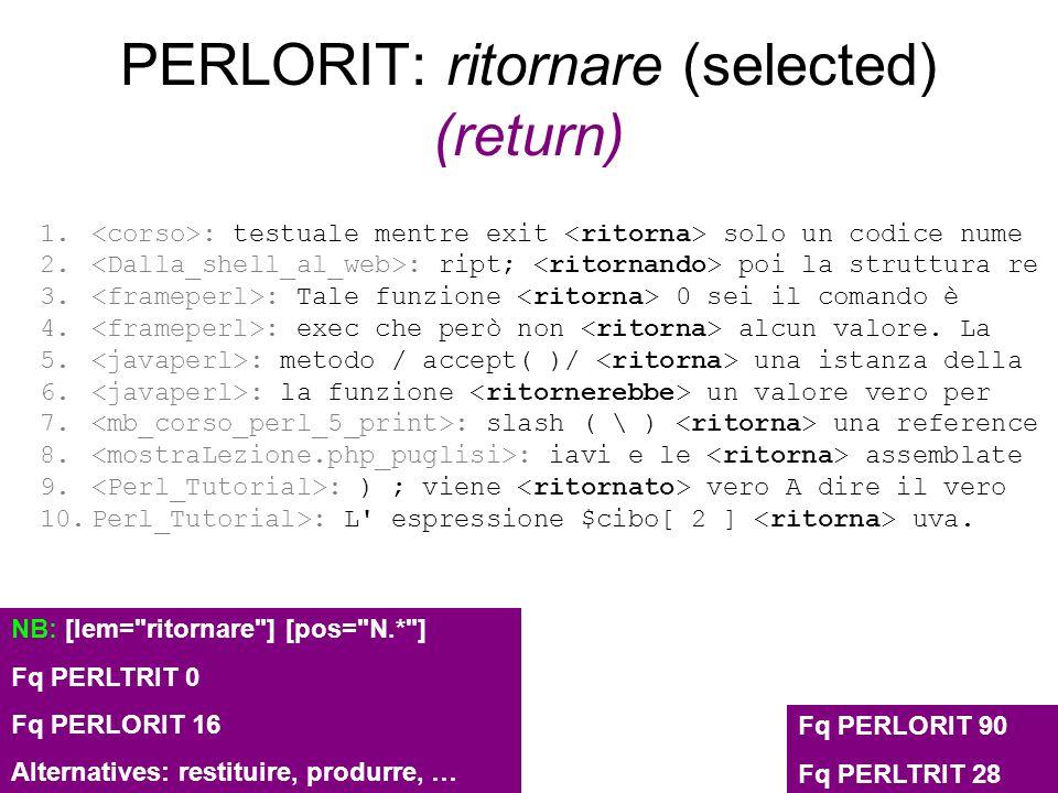 PERLORIT: ritornare (selected) (return)