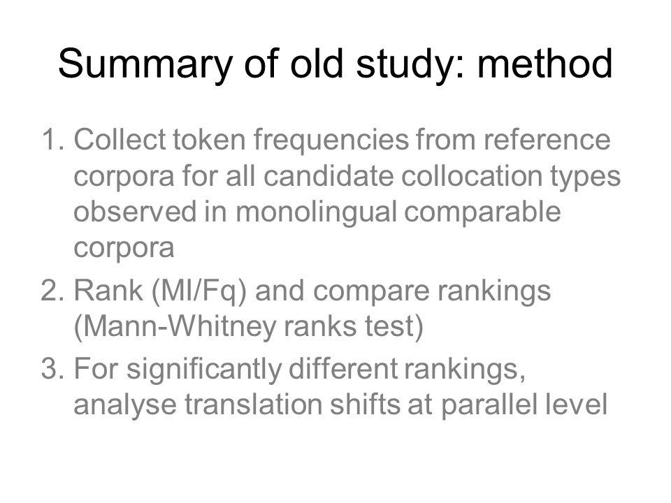 Summary of old study: method