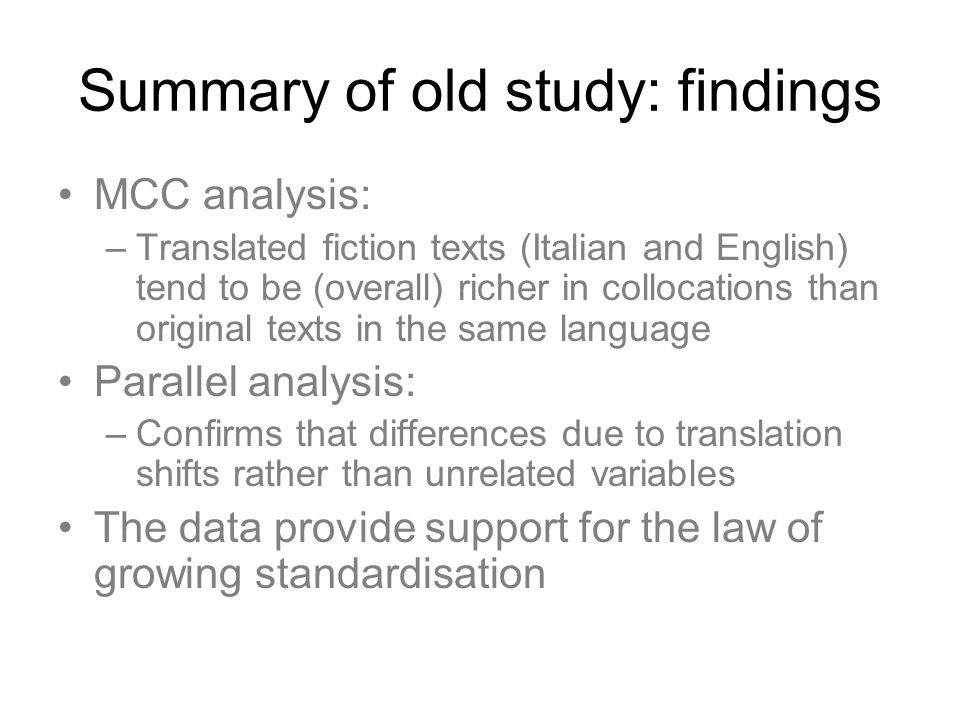 Summary of old study: findings