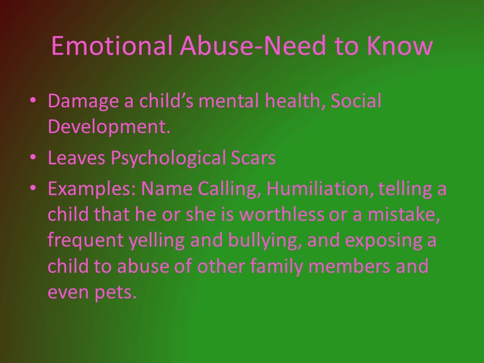 mental damage caused by child abuse In what follows we will consider what causes the emotional abuse of children once parents have separated and suffer from continuing implacable hostility towards one another.