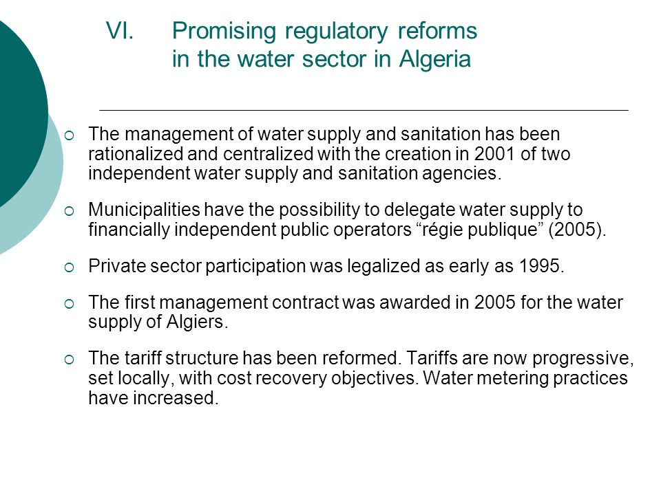 Promising regulatory reforms in the water sector in Algeria