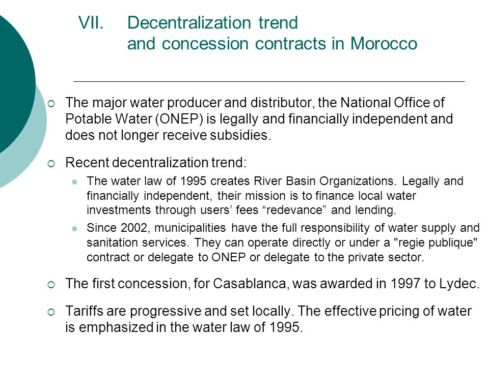 Decentralization trend and concession contracts in Morocco