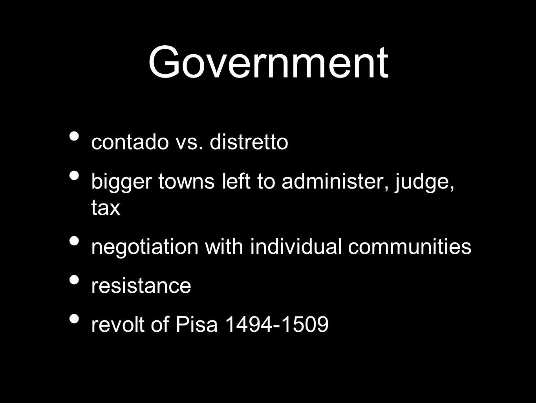 Government contado vs. distretto