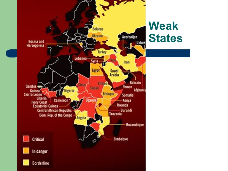 why are african states weak Failing and failed states weak states, like afghanistan, can pose as great a danger to our national interests as strong states - the us national security strategy, 2002 developments in west africa and most of the developing world - the withering away of central.