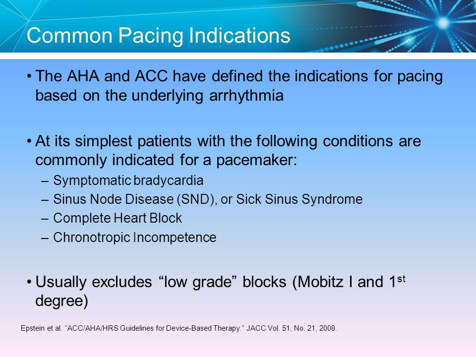 Common Pacing Indications