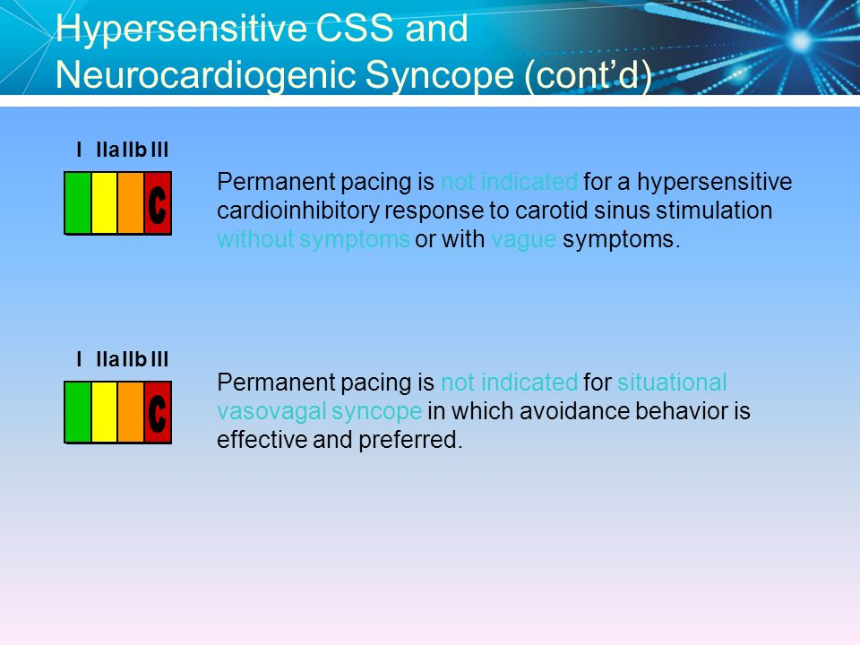 Hypersensitive CSS and Neurocardiogenic Syncope (cont'd)
