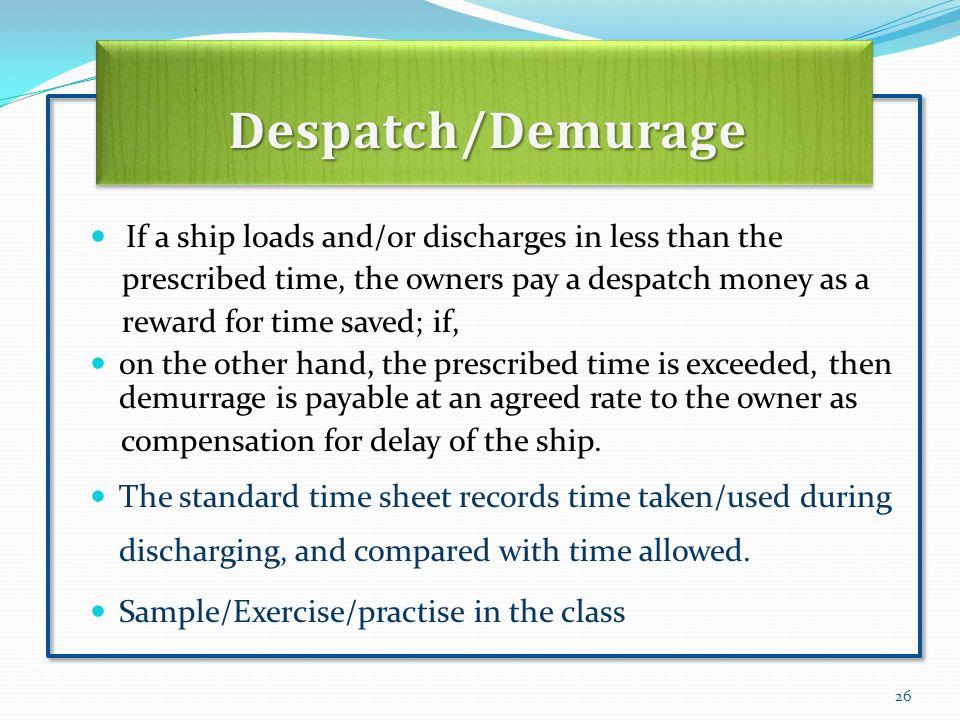 26 Despatch/Demurage ...