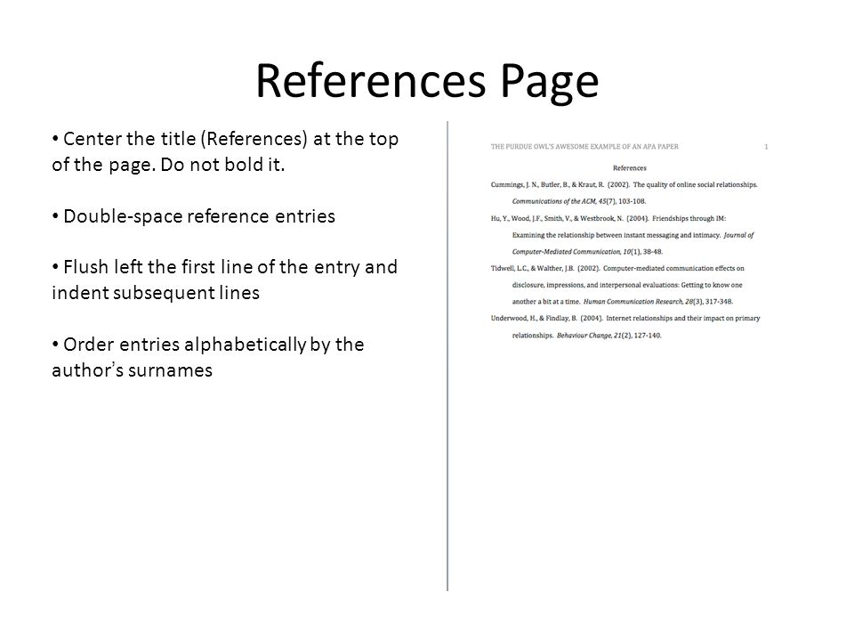 what does a reference page for an essay look like